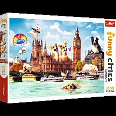 Psy w Londynie - puzzle funny cities 1000 elementów