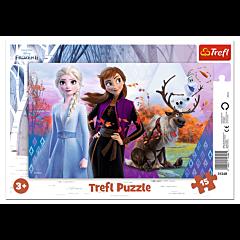 Magiczny Świat Anny i Elsy, Frozen - puzzle ramkowe 15 elementów od Trefl