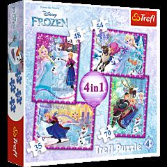 Zimowe szaleństwo, Frozen - puzzle 4w1 od Trefl