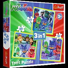 Gotowi do działania, PJ Masks - puzzle 3w1 od Trefl