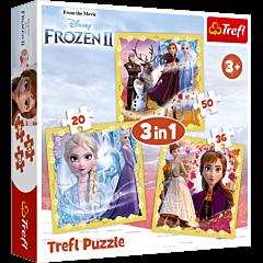 Moc Anny i Elsy - puzzle 3 w 1 Frozen 2 od Trefl