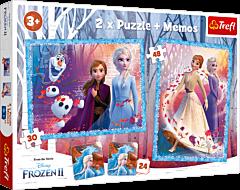 Tajemnicza kraina - puzzle 2 w 1 + memos Frozen 2 od Trefl